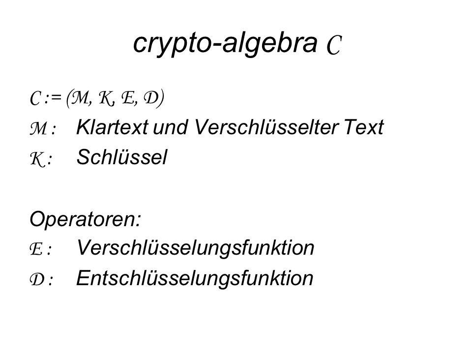 crypto-algebra C C := (M, K, E, D) M : Klartext und Verschlüsselter Text K : Schlüssel Operatoren: E : Verschlüsselungsfunktion D : Entschlüsselungsfunktion