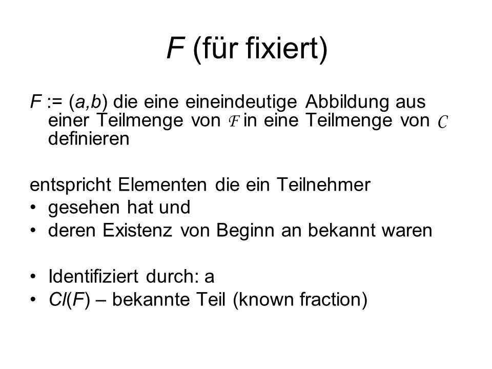 F (für fixiert) F := (a,b) die eine eineindeutige Abbildung aus einer Teilmenge von F in eine Teilmenge von C definieren entspricht Elementen die ein Teilnehmer gesehen hat und deren Existenz von Beginn an bekannt waren Identifiziert durch: a Cl(F) – bekannte Teil (known fraction)