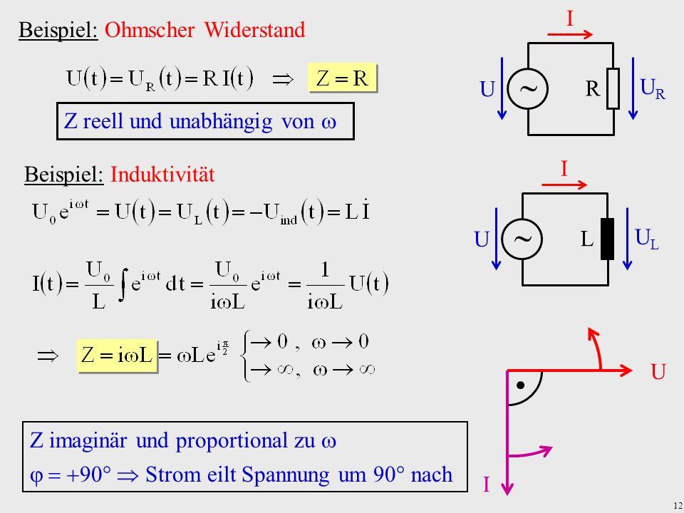 12 Beispiel: Ohmscher Widerstand URUR U R I Z reell und unabhängig von Beispiel: Induktivität ULUL U L I Z imaginär und proportional zu Strom eilt Spa