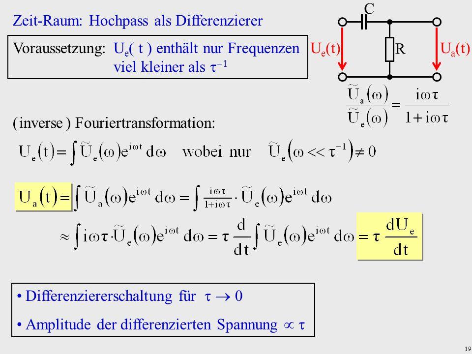 19 Zeit-Raum: Hochpass als Differenzierer R C U e (t)U a (t) Voraussetzung:U e t enthält nur Frequenzen viel kleiner als ( inverse ) Fouriertransforma