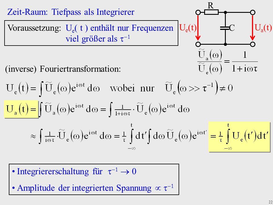 22 Zeit-Raum: Tiefpass als Integrierer Voraussetzung:U e t enthält nur Frequenzen viel größer als (inverse) Fouriertransformation: Integriererschaltun