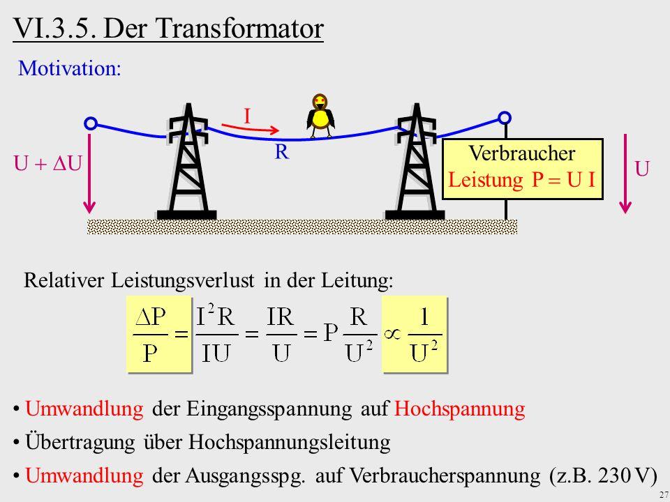 27 VI.3.5. Der Transformator R Verbraucher Leistung P U I I U U Motivation: Relativer Leistungsverlust in der Leitung: Umwandlung der Eingangsspannung