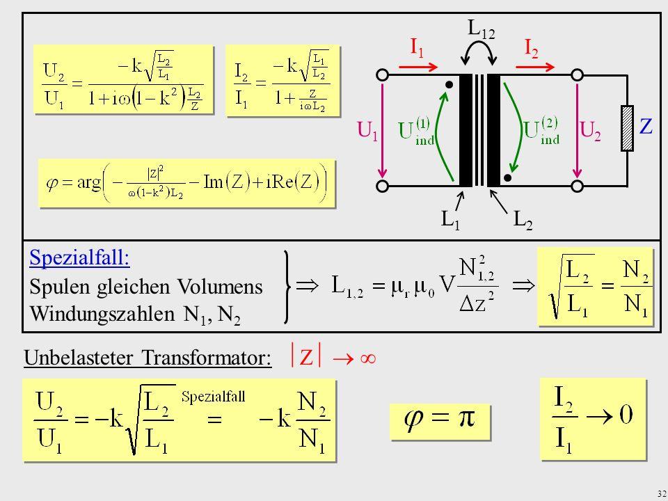 32 Unbelasteter Transformator: Z U1U1 U2U2 I1I1 I2I2 Z L1L1 L2L2 L 12 Spezialfall: Spulen gleichen Volumens Windungszahlen N 1, N 2