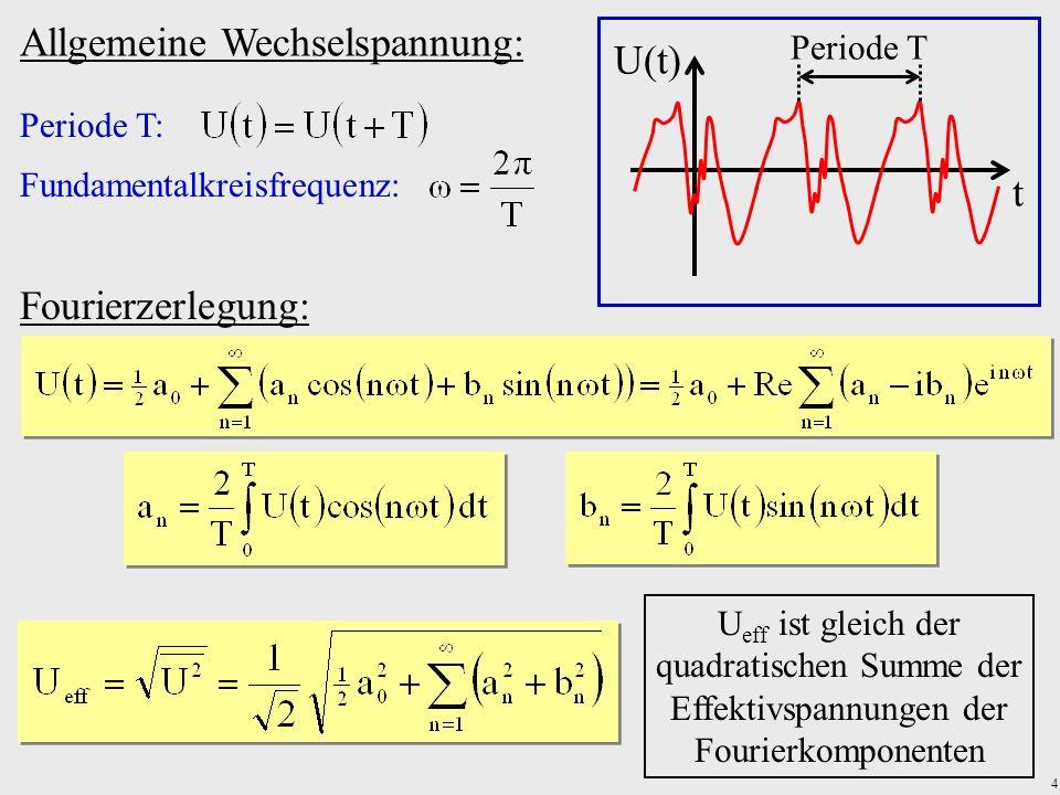 4 Allgemeine Wechselspannung: Periode T: Fundamentalkreisfrequenz: U(t) t Periode T Fourierzerlegung: U eff ist gleich der quadratischen Summe der Eff