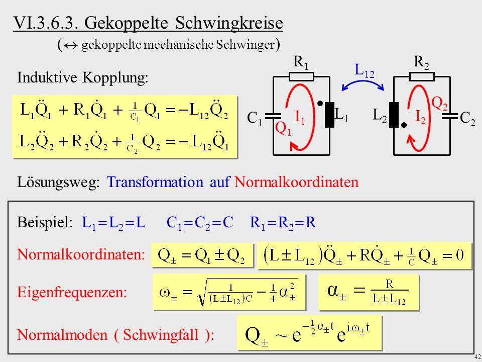 42 VI.3.6.3. Gekoppelte Schwingkreise ( gekoppelte mechanische Schwinger ) Induktive Kopplung: R1R1 C1C1 L1L1 I1I1 Q1Q1 R2R2 C2C2 L2L2 I2I2 Q2Q2 L 12