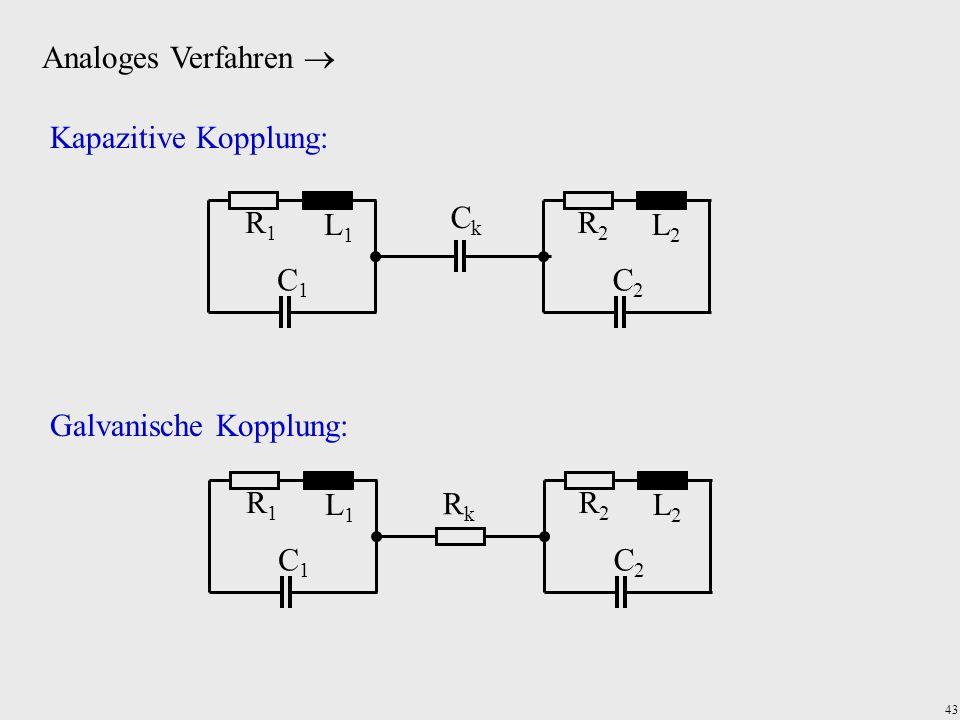 43 Analoges Verfahren R1R1 C1C1 L1L1 R2R2 C2C2 L2L2 CkCk Kapazitive Kopplung: Galvanische Kopplung: R1R1 C1C1 L1L1 R2R2 C2C2 L2L2 RkRk