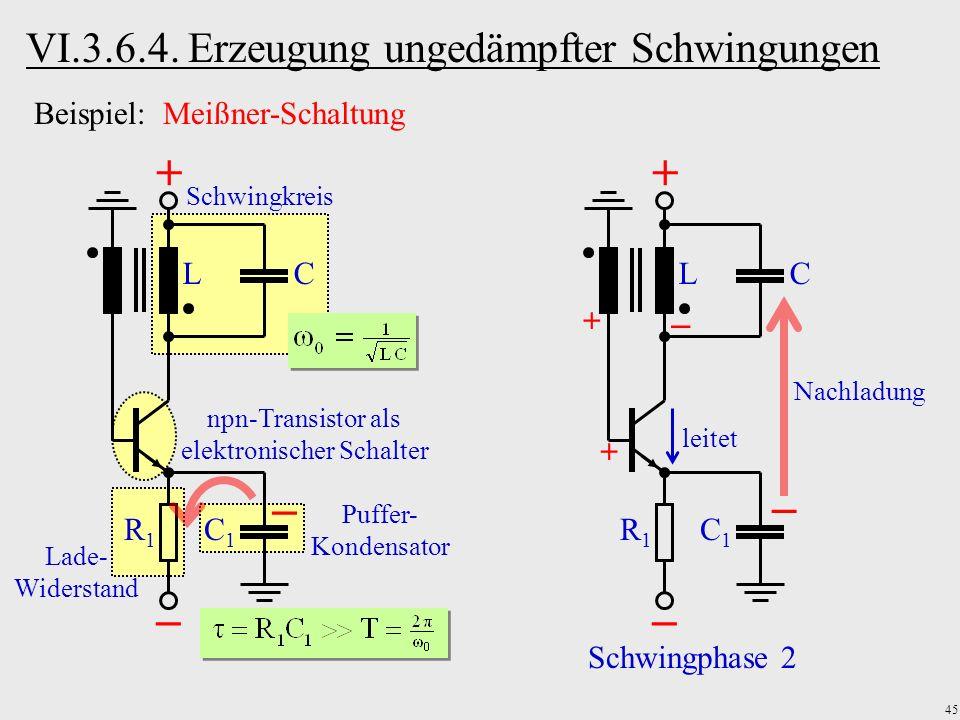 45 Lade- Widerstand Puffer- Kondensator npn-Transistor als elektronischer Schalter Schwingkreis LC R1R1 C1C1 LC R1R1 C1C1 leitet Schwingphase 2 Nachla