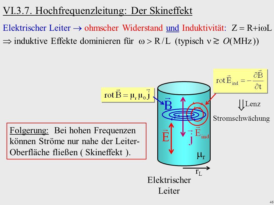 46 VI.3.7. Hochfrequenzleitung: Der Skineffekt Elektrischer Leiter ohmscher Widerstand und Induktivität: Z R i L induktive Effekte dominieren für R L