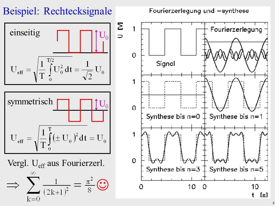 6 Beispiel: Rechtecksignale symmetrisch U0U0 einseitig U0U0 Vergl. U eff aus Fourierzerl.