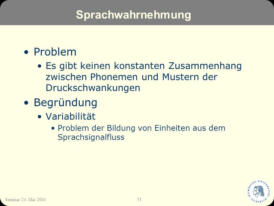 11 Seminar 24. Mai 2004 Sprachwahrnehmung Problem Es gibt keinen konstanten Zusammenhang zwischen Phonemen und Mustern der Druckschwankungen Begründun