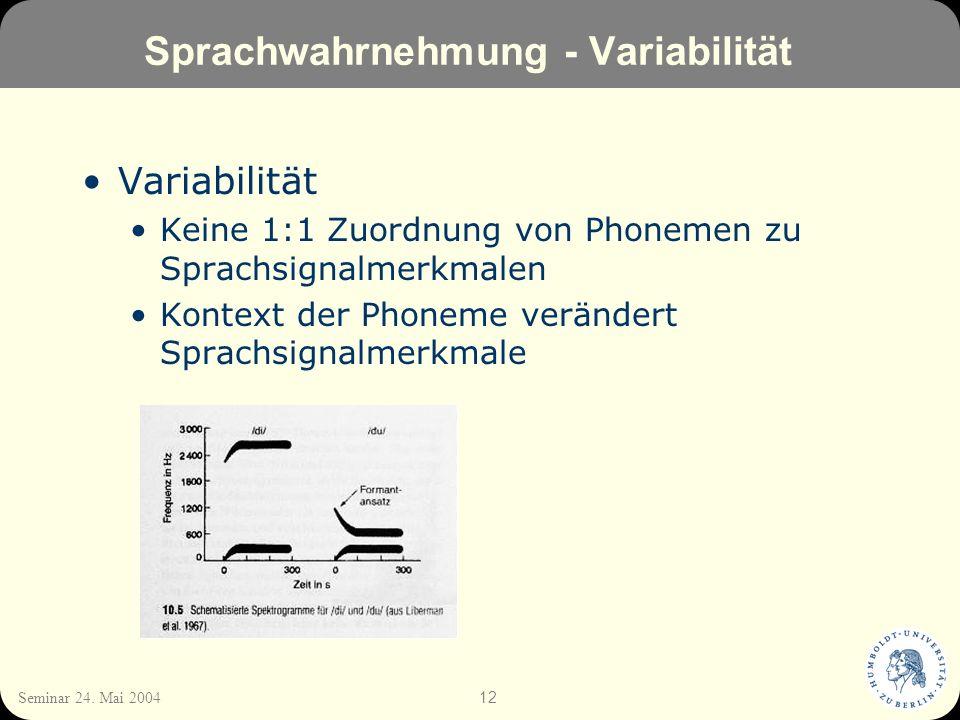 12 Seminar 24. Mai 2004 Sprachwahrnehmung - Variabilität Variabilität Keine 1:1 Zuordnung von Phonemen zu Sprachsignalmerkmalen Kontext der Phoneme ve