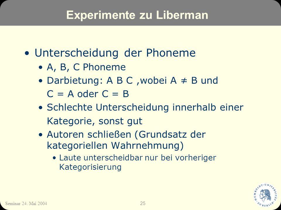 25 Seminar 24. Mai 2004 Experimente zu Liberman Unterscheidung der Phoneme A, B, C Phoneme Darbietung: A B C,wobei A B und C = A oder C = B Schlechte