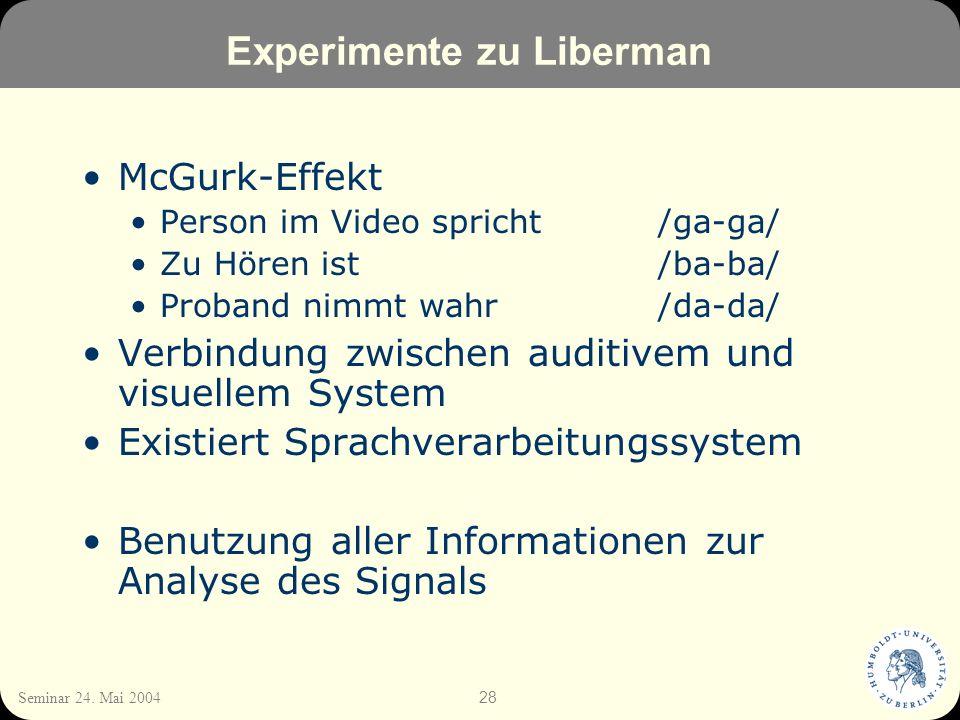 28 Seminar 24. Mai 2004 Experimente zu Liberman McGurk-Effekt Person im Video spricht /ga-ga/ Zu Hören ist/ba-ba/ Proband nimmt wahr/da-da/ Verbindung