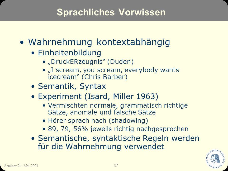 37 Seminar 24. Mai 2004 Sprachliches Vorwissen Wahrnehmung kontextabhängig Einheitenbildung DruckERzeugnis (Duden) I scream, you scream, everybody wan