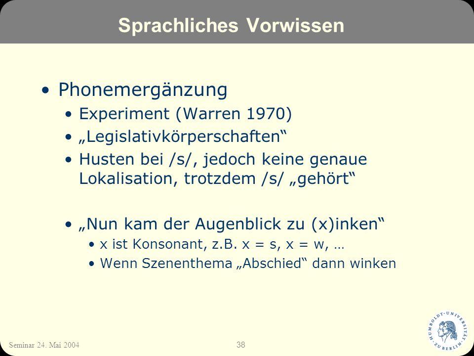 38 Seminar 24. Mai 2004 Sprachliches Vorwissen Phonemergänzung Experiment (Warren 1970) Legislativkörperschaften Husten bei /s/, jedoch keine genaue L