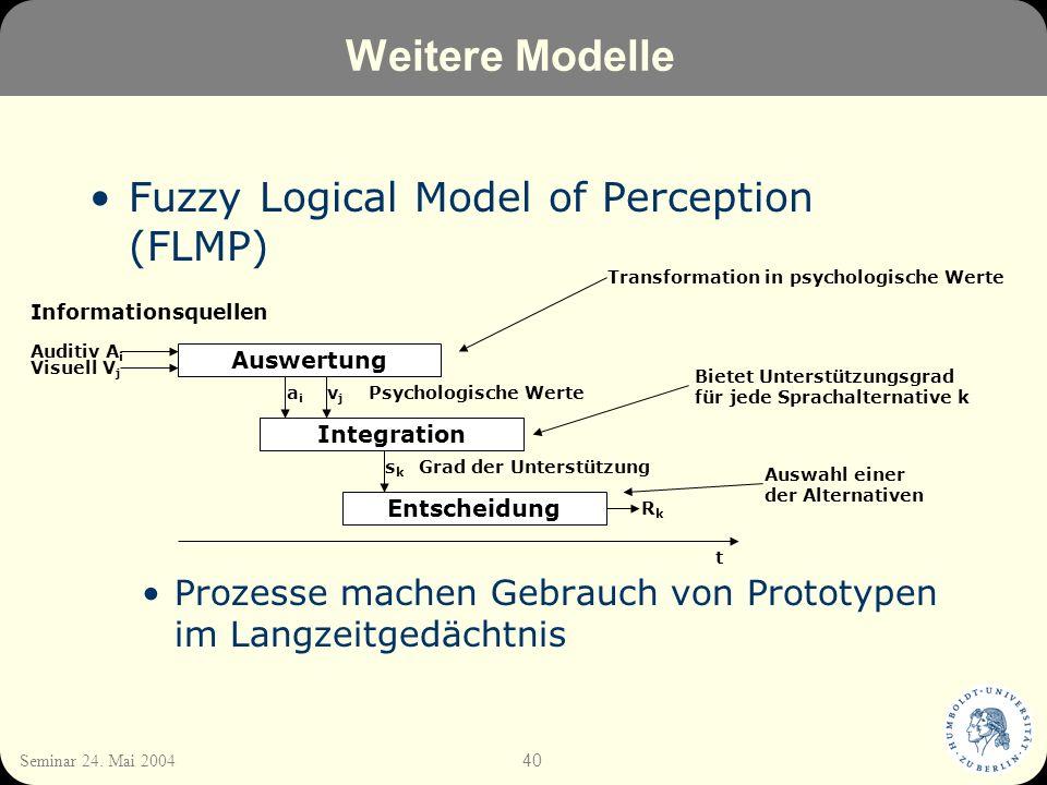 40 Seminar 24. Mai 2004 Weitere Modelle Fuzzy Logical Model of Perception (FLMP) Prozesse machen Gebrauch von Prototypen im Langzeitgedächtnis Auswert