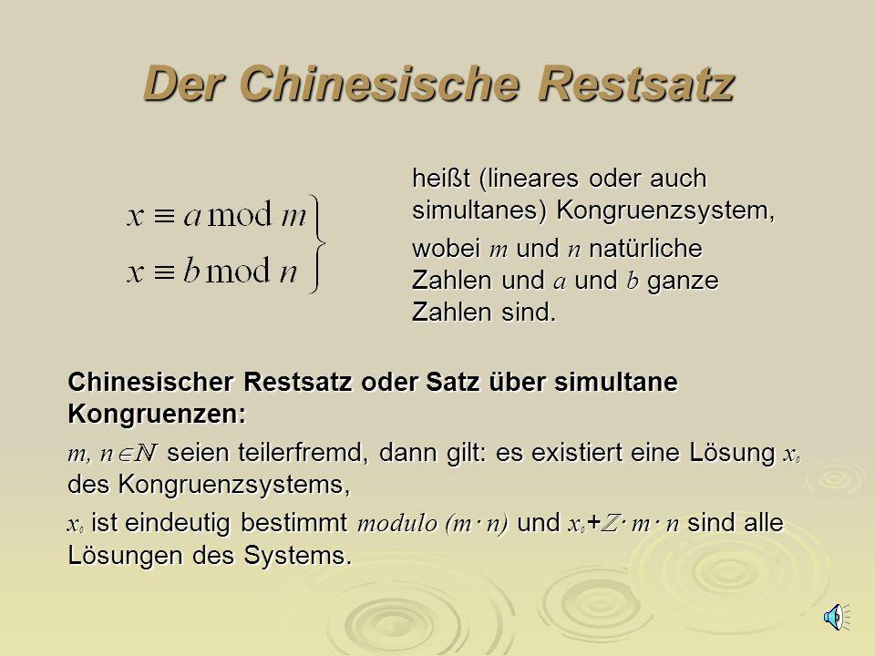 Der Chinesische Restsatz Problem: Wir führen parallel zur 7 Tage- Woche eine 10 Tage-Woche für Schüler ein. Diese beginnt am 14. Juni 2003 mit dem 6.T