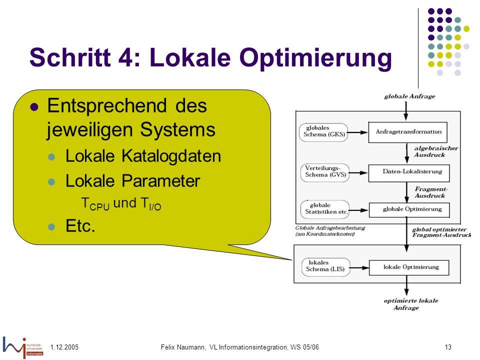 1.12.2005Felix Naumann, VL Informationsintegration, WS 05/0613 Schritt 4: Lokale Optimierung Entsprechend des jeweiligen Systems Lokale Katalogdaten L
