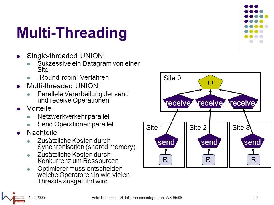 1.12.2005Felix Naumann, VL Informationsintegration, WS 05/0619 Multi-Threading Single-threaded UNION: Sukzessive ein Datagram von einer Site Round-rob
