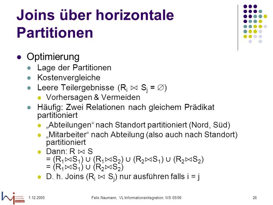 1.12.2005Felix Naumann, VL Informationsintegration, WS 05/0626 Joins über horizontale Partitionen Optimierung Lage der Partitionen Kostenvergleiche Le