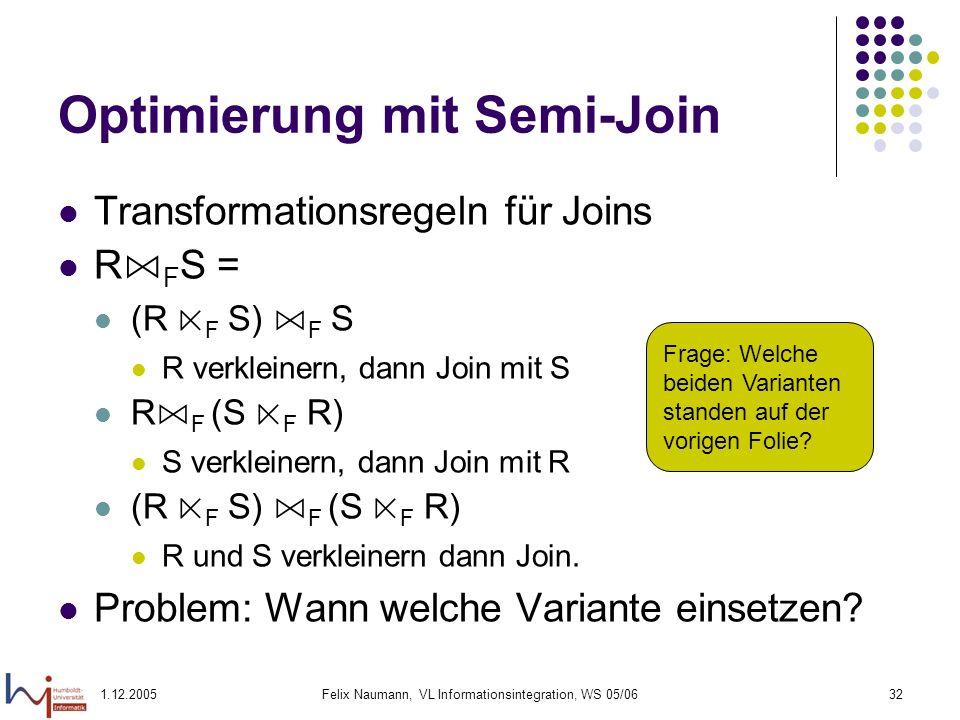 1.12.2005Felix Naumann, VL Informationsintegration, WS 05/0632 Optimierung mit Semi-Join Transformationsregeln für Joins R F S = (R F S) F S R verklei