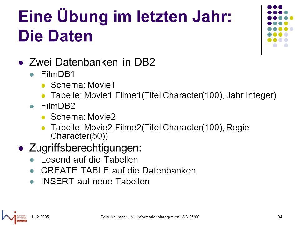 1.12.2005Felix Naumann, VL Informationsintegration, WS 05/0634 Eine Übung im letzten Jahr: Die Daten Zwei Datenbanken in DB2 FilmDB1 Schema: Movie1 Ta