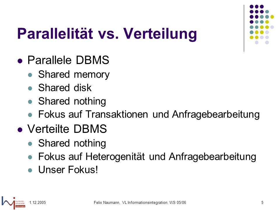 1.12.2005Felix Naumann, VL Informationsintegration, WS 05/065 Parallelität vs. Verteilung Parallele DBMS Shared memory Shared disk Shared nothing Foku