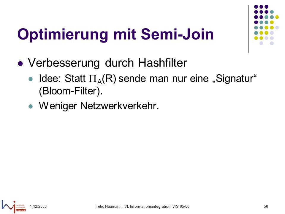 1.12.2005Felix Naumann, VL Informationsintegration, WS 05/0658 Optimierung mit Semi-Join Verbesserung durch Hashfilter Idee: Statt A (R) sende man nur