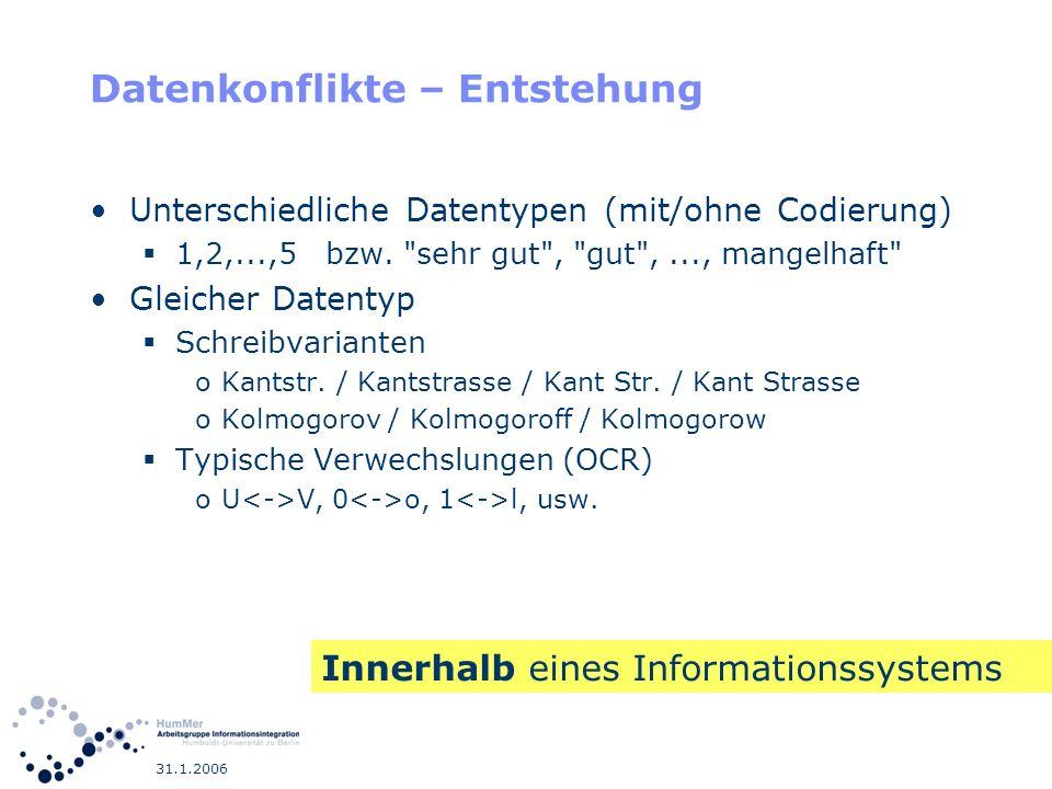 31.1.2006 Datenkonflikte – Entstehung Unterschiedliche Datentypen (mit/ohne Codierung) 1,2,...,5 bzw.