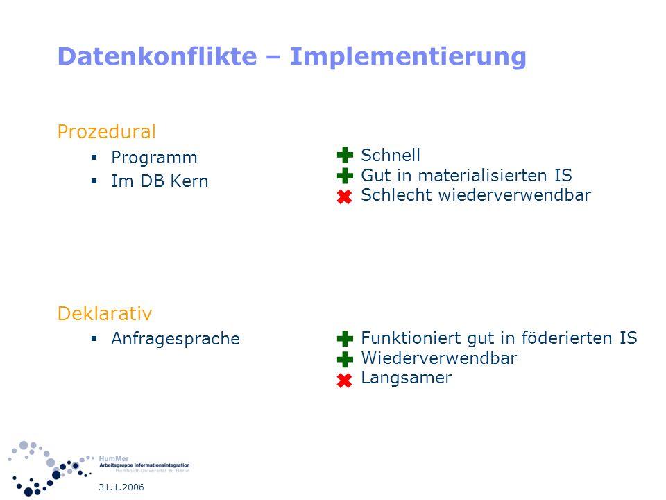 31.1.2006 Datenkonflikte – Implementierung Prozedural Programm Im DB Kern Deklarativ Anfragesprache Schnell Gut in materialisierten IS Schlecht wieder