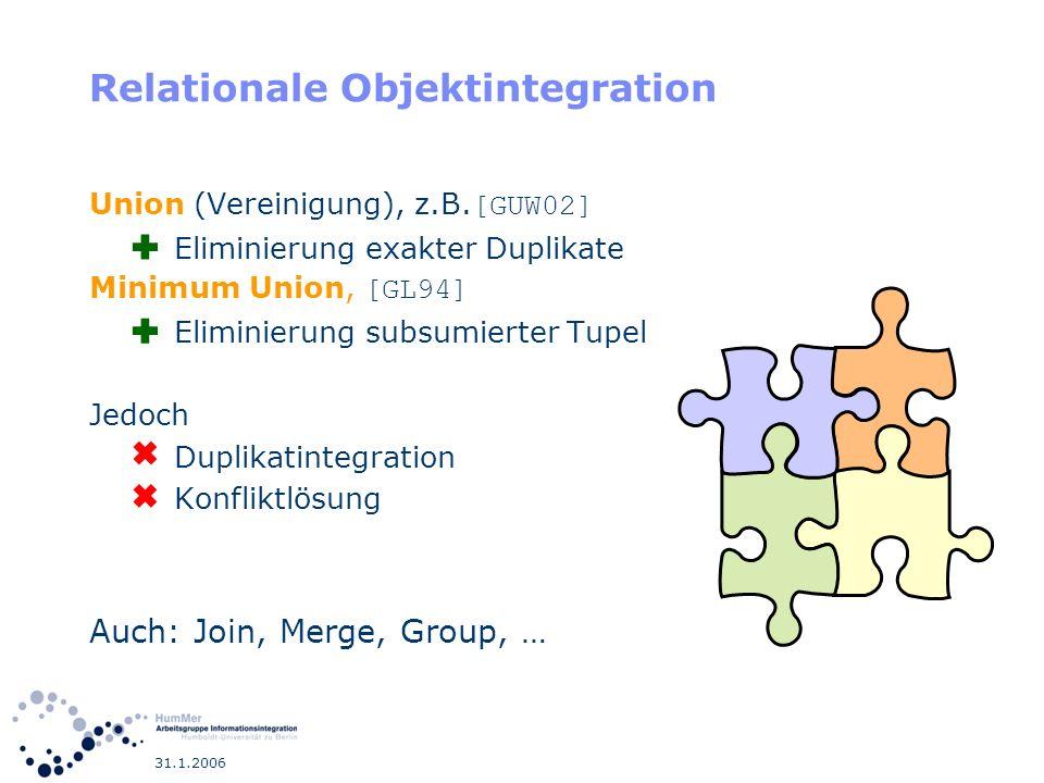 31.1.2006 Relationale Objektintegration Union (Vereinigung), z.B. [GUW02] Eliminierung exakter Duplikate Minimum Union, [GL94] Eliminierung subsumiert
