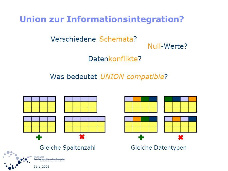 31.1.2006 Union zur Informationsintegration? Was bedeutet UNION compatible? Gleiche SpaltenzahlGleiche Datentypen Verschiedene Schemata? Null-Werte? D
