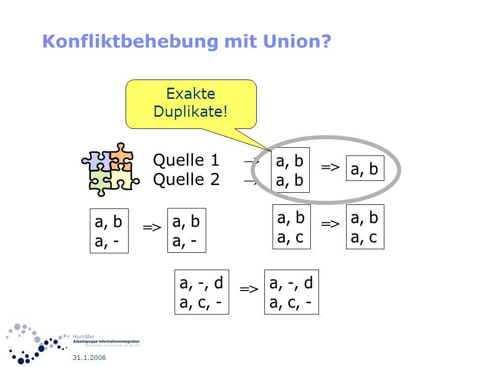 31.1.2006 Konfliktbehebung mit Union? a, b a, - => a, b a, - a, b => a, b a, c => a, b a, c a, -, d a, c, - => a, -, d a, c, - Quelle 1 Quelle 2 Exakt