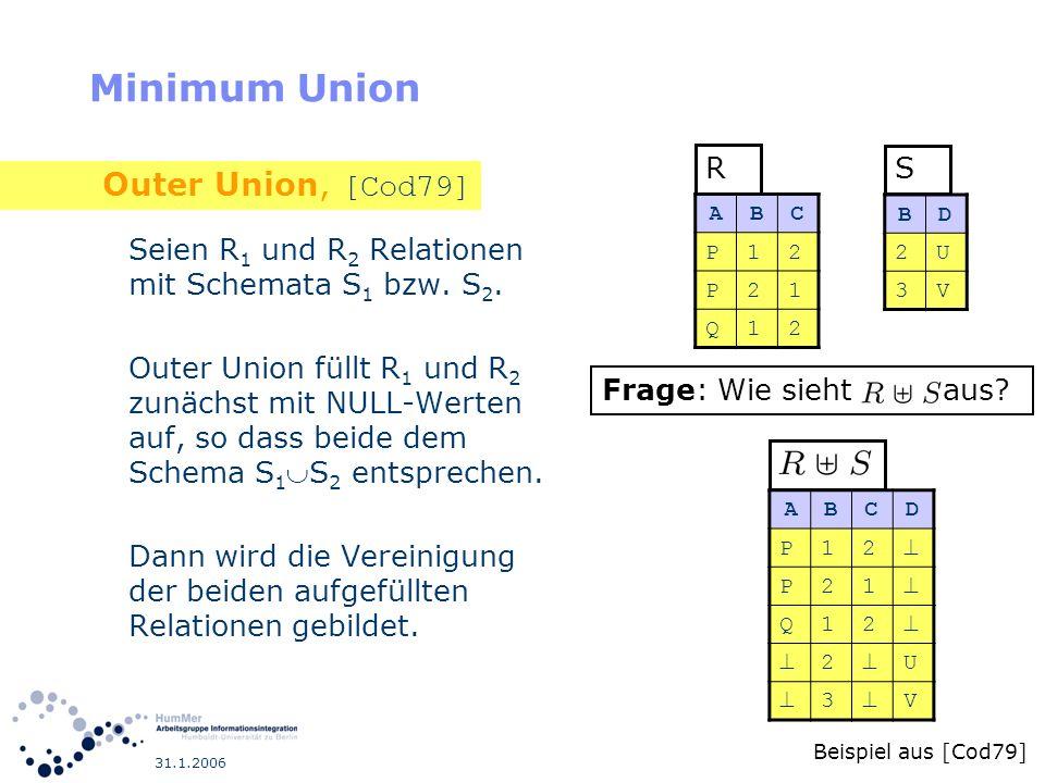 31.1.2006 Minimum Union Seien R 1 und R 2 Relationen mit Schemata S 1 bzw. S 2. Outer Union füllt R 1 und R 2 zunächst mit NULL-Werten auf, so dass be