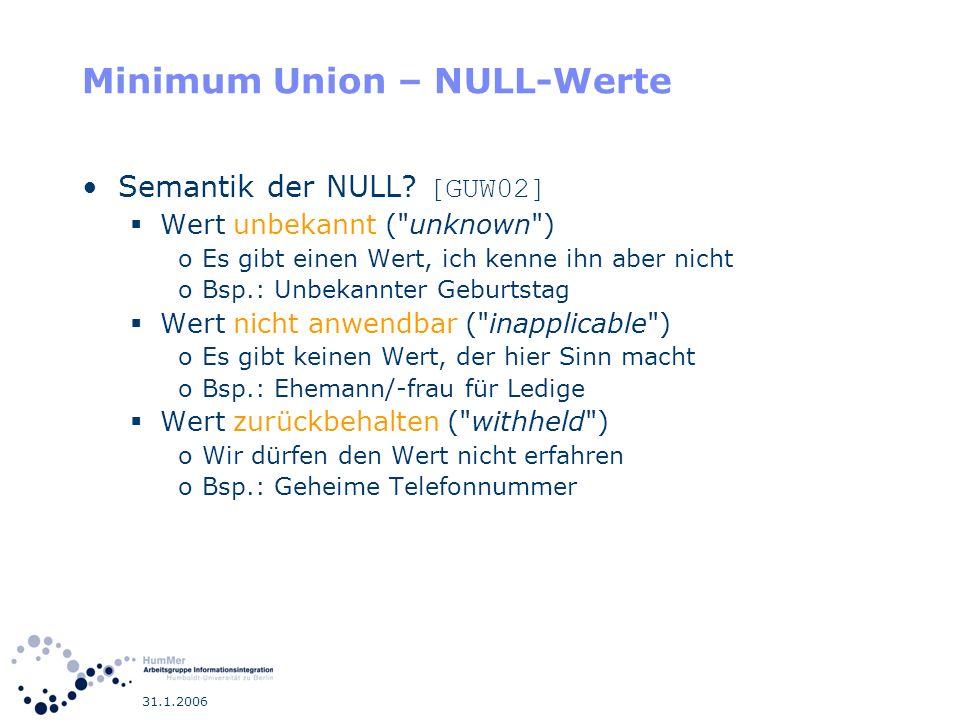 31.1.2006 Minimum Union – NULL-Werte Semantik der NULL? [GUW02] Wert unbekannt (