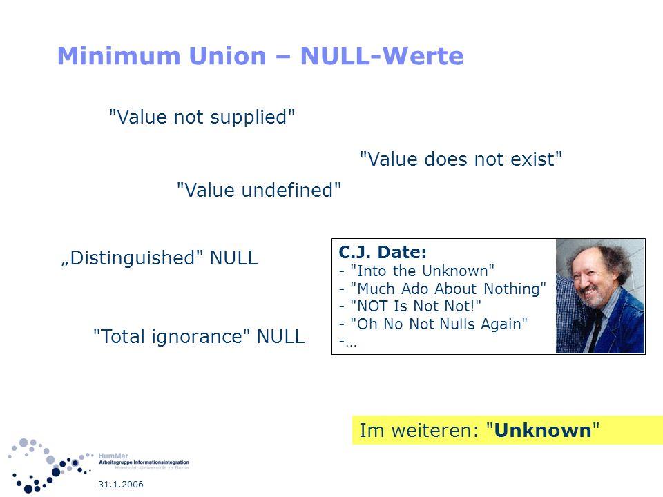 31.1.2006 Minimum Union – NULL-Werte C.J. Date: -