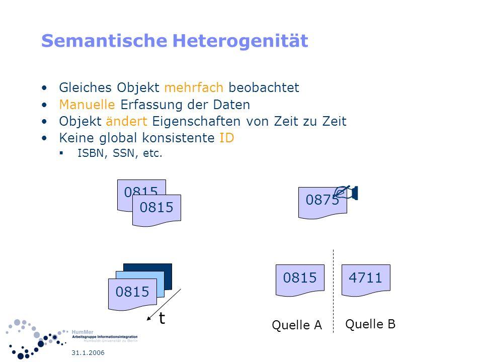31.1.2006 Gruppierung zur Integration Outer-Union auf alle Quellen Mit SQL GROUP BY umschließen Gruppierung nach ID Attribut Aggregat-Funktionen als Konfliktlösungsfunktion für alle anderen Attribute.