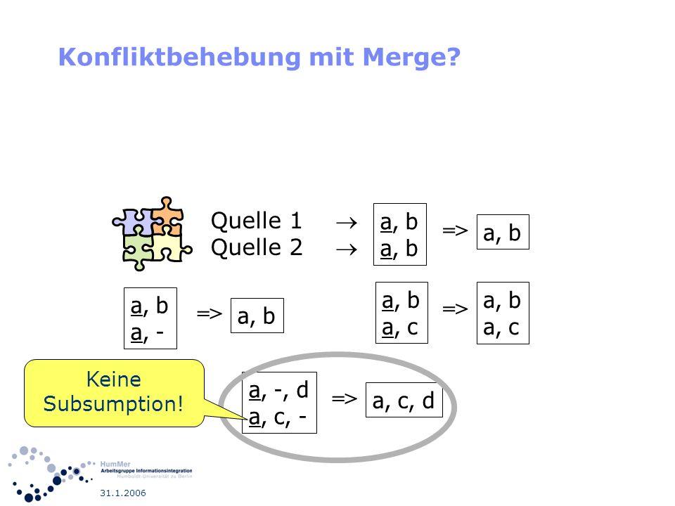 31.1.2006 Konfliktbehebung mit Merge? a, b a, - => a, b => a, b a, c => a, b a, c a, -, d a, c, - => a, c, d Quelle 1 Quelle 2 Keine Subsumption!