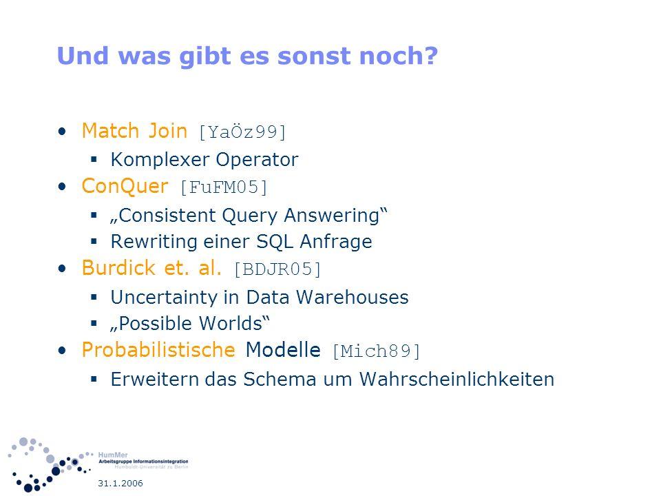 31.1.2006 Und was gibt es sonst noch? Match Join [YaÖz99] Komplexer Operator ConQuer [FuFM05] Consistent Query Answering Rewriting einer SQL Anfrage B