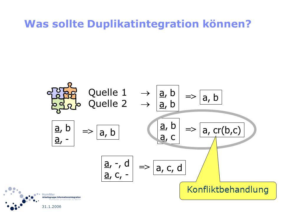 31.1.2006 Was sollte Duplikatintegration können? a, b a, - => a, b => a, b a, c => a, cr(b,c) a, -, d a, c, - => a, c, d Quelle 1 Quelle 2 Konfliktbeh
