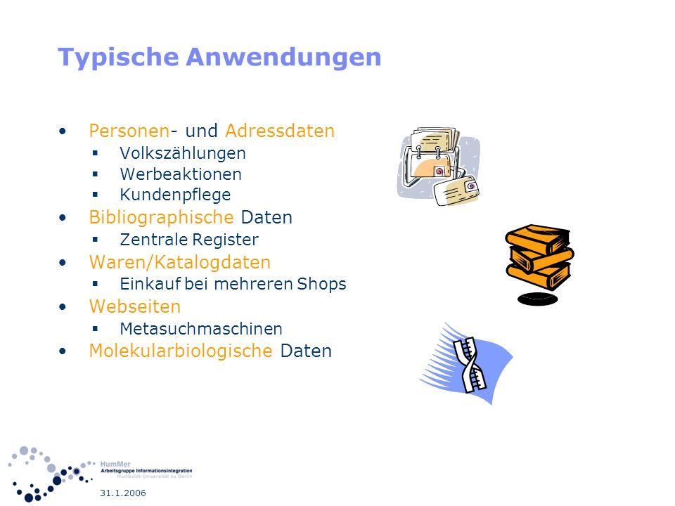 31.1.2006 Überblick Schema Matching Duplikaterkennung Datenfusion Visualisierung/Export Anwendung Schritt 1: Schritt 2: Schritt 3: Schritt 4: Datenquellen Namenskonflikte (schematische Konflikte) Identitätsproblem Datenkonflikte