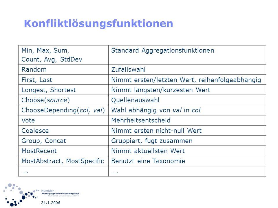 31.1.2006 Konfliktlösungsfunktionen Min, Max, Sum, Count, Avg, StdDev Standard Aggregationsfunktionen RandomZufallswahl First, LastNimmt ersten/letzte