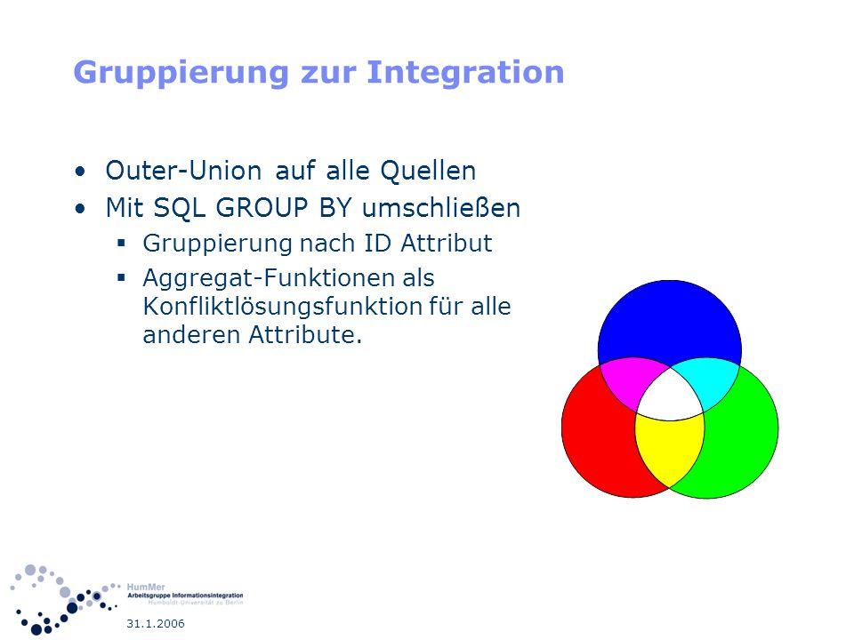 31.1.2006 Gruppierung zur Integration Outer-Union auf alle Quellen Mit SQL GROUP BY umschließen Gruppierung nach ID Attribut Aggregat-Funktionen als K