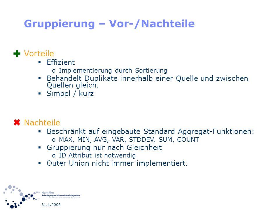 31.1.2006 Gruppierung – Vor-/Nachteile Vorteile Effizient oImplementierung durch Sortierung Behandelt Duplikate innerhalb einer Quelle und zwischen Qu