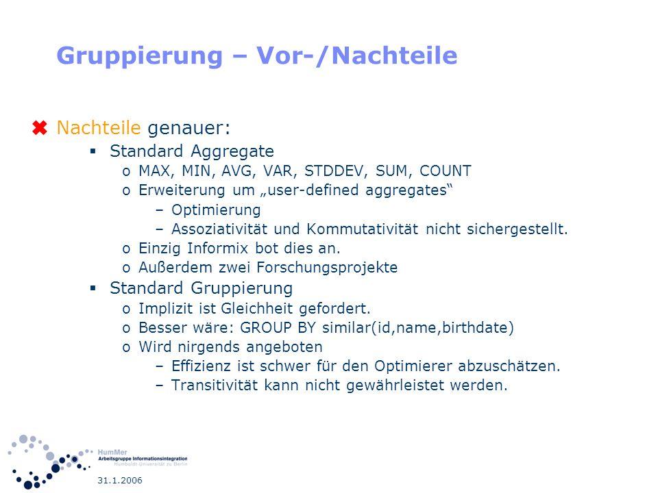 31.1.2006 Gruppierung – Vor-/Nachteile Nachteile genauer: Standard Aggregate oMAX, MIN, AVG, VAR, STDDEV, SUM, COUNT oErweiterung um user-defined aggr