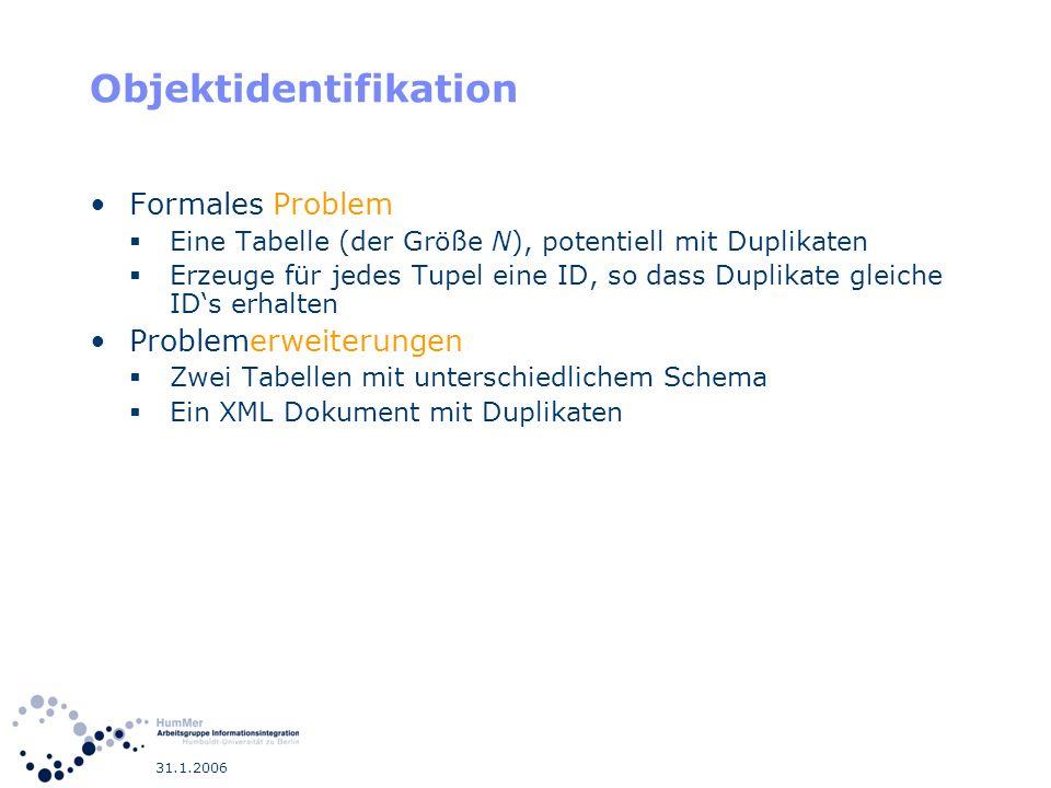 31.1.2006 Datenkonflikte Zwei Duplikate haben unterschiedliche Attributwerte für semantisch gleiches Attribut.