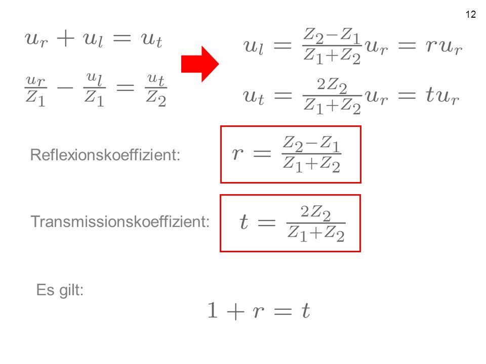 12 Reflexionskoeffizient: Transmissionskoeffizient: Es gilt: