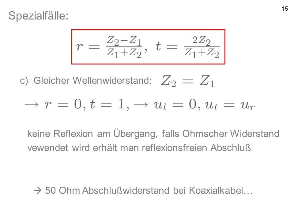15 Spezialfälle: c) Gleicher Wellenwiderstand: keine Reflexion am Übergang, falls Ohmscher Widerstand vewendet wird erhält man reflexionsfreien Abschl