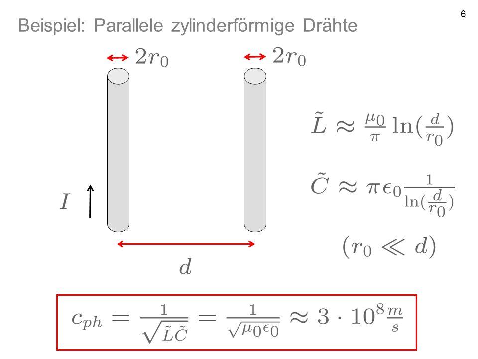 7 Erinnerung P1a: Phasengeschwindigkeit beschreibt Ausbreitung von Orten gleicher Phase Gruppengeschwindigkeit beschreibt Ausbreitung von Wellengruppen (relevant für Informationsübertragung) Falls L und C nicht von der Frequenz abhängen, ferner R=G=0 so ist die Wellenausbreitung dispersionsfrei, Gruppengeschwindigkeit ist für alle Frequenzen gleich: in realen Leitern nur näherungsweise erfüllt!