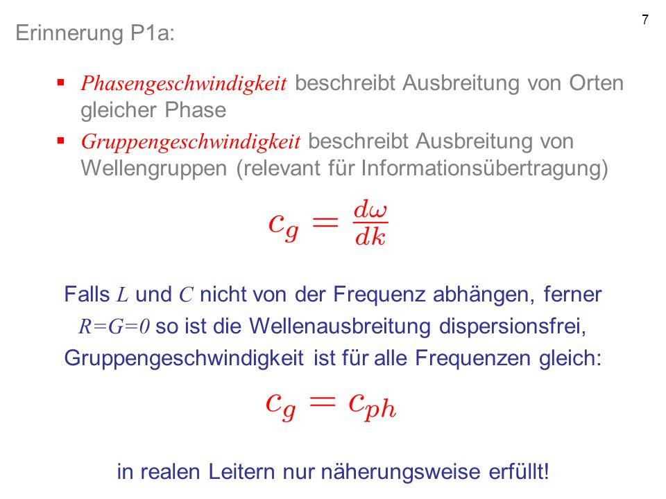 7 Erinnerung P1a: Phasengeschwindigkeit beschreibt Ausbreitung von Orten gleicher Phase Gruppengeschwindigkeit beschreibt Ausbreitung von Wellengruppe